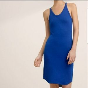 Blue tank dress with back cutout